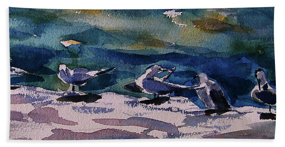 Seabirds Hand Towel featuring the painting Shoreline Birds Iv by Julianne Felton