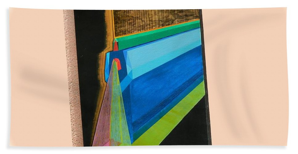 Spirituality Hand Towel featuring the painting Shot Shift - Hermite 1 by Michael Bellon