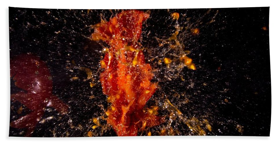 Shot Bath Sheet featuring the photograph Shot Tomatoe by FL collection