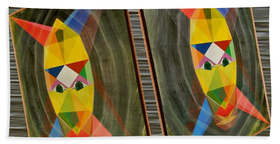 Modernism Bath Sheet featuring the painting Shots Shifted - Le Mage 1 by Michael Bellon