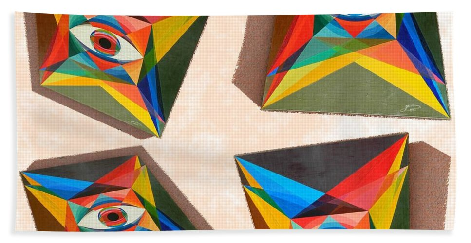 Spirituality Bath Sheet featuring the painting Shots Shifted - Le Monde 5 by Michael Bellon