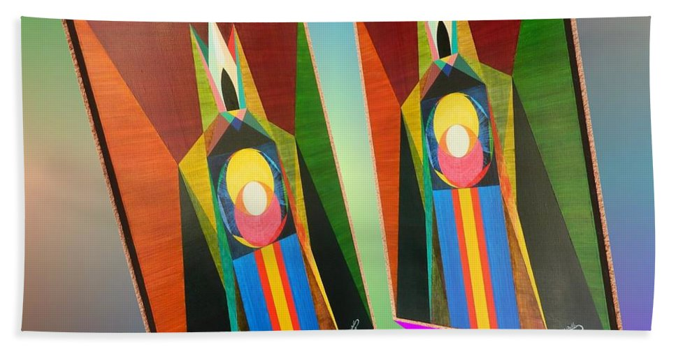Modernism Bath Sheet featuring the painting Shots Shifted - Le Pat 5 by Michael Bellon