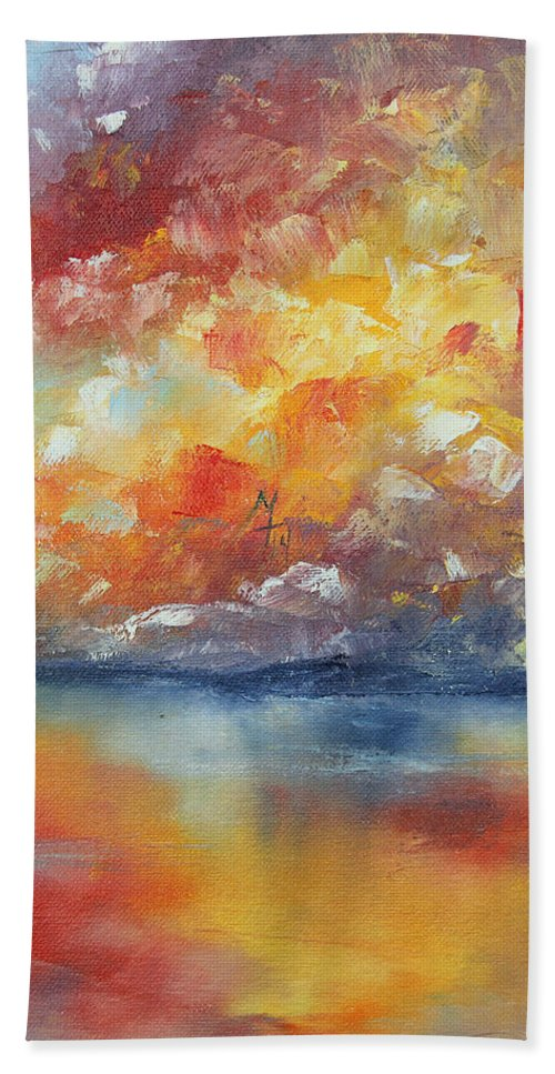 Sunset Bath Sheet featuring the painting Show Your Color by Meaghan Troup