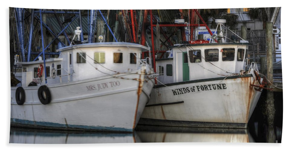Shrimp Boats Bath Sheet featuring the photograph Shrimp Boats Reflecting by Dale Powell