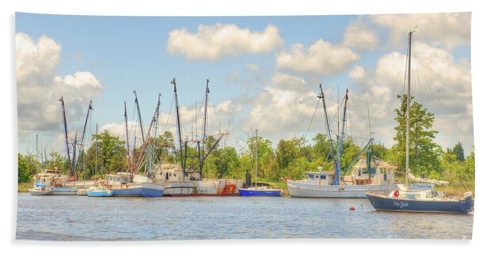 Shrimp Boats Hand Towel featuring the photograph Shrimp Boats In Georgetown Sc by Dale Powell