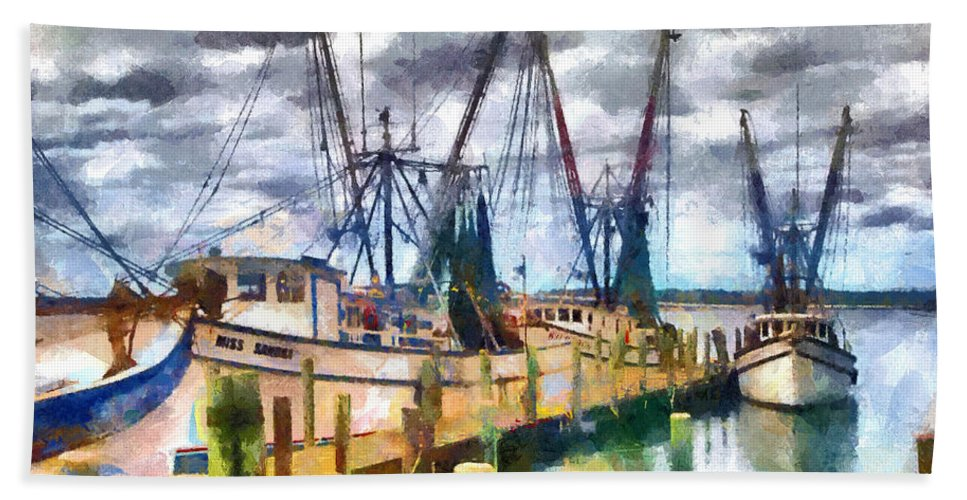 Shrimp Hand Towel featuring the painting Shrimp Boats by Lynne Jenkins