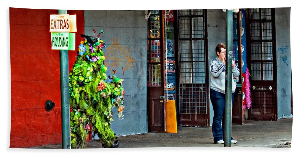 French Quarter Hand Towel featuring the photograph Shrubman On The Move by Steve Harrington