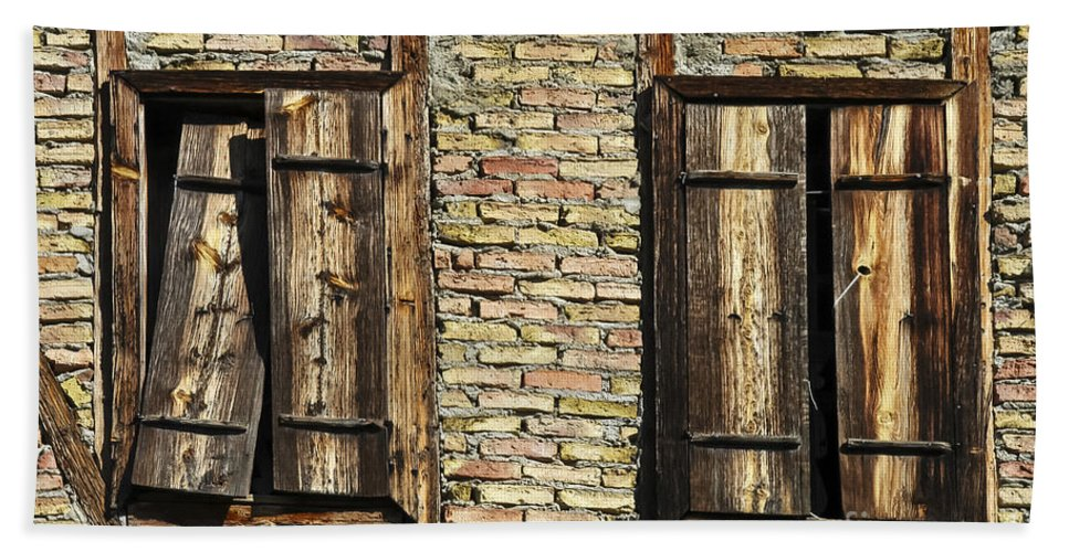 Ottoman House Houses Structure Structures Architecture Building Buildings Yoruk Village Safranbolu Turkey Window Windows Shutter Shutters Villages Bath Sheet featuring the photograph Shuttered Windows by Bob Phillips