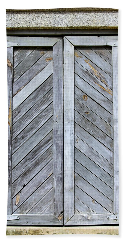 Wood Hand Towel featuring the photograph Weathered Wooden Shutters by Bob Slitzan