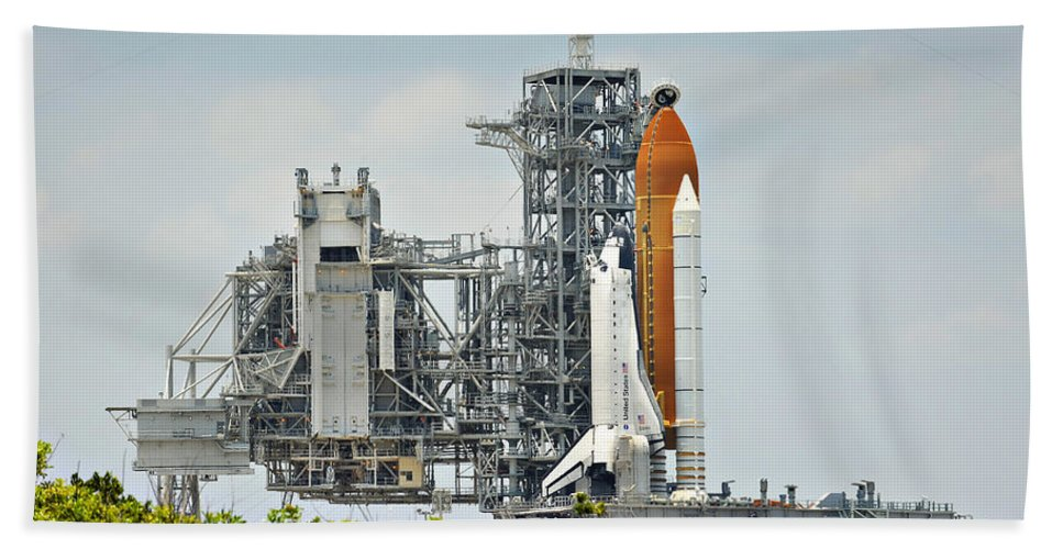 Sts Bath Sheet featuring the photograph Shuttle Endeavour Is Prepared For Launch by Ricky Barnard