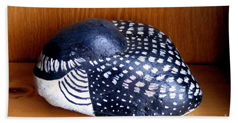 Beach Rock Bath Sheet featuring the mixed media Shy Loon Rock by Barbara Griffin