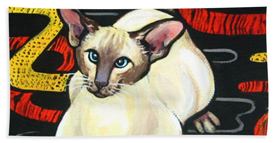 Rebecca Korpita Bath Sheet featuring the painting Siamese Cat On A Cushion by Rebecca Korpita