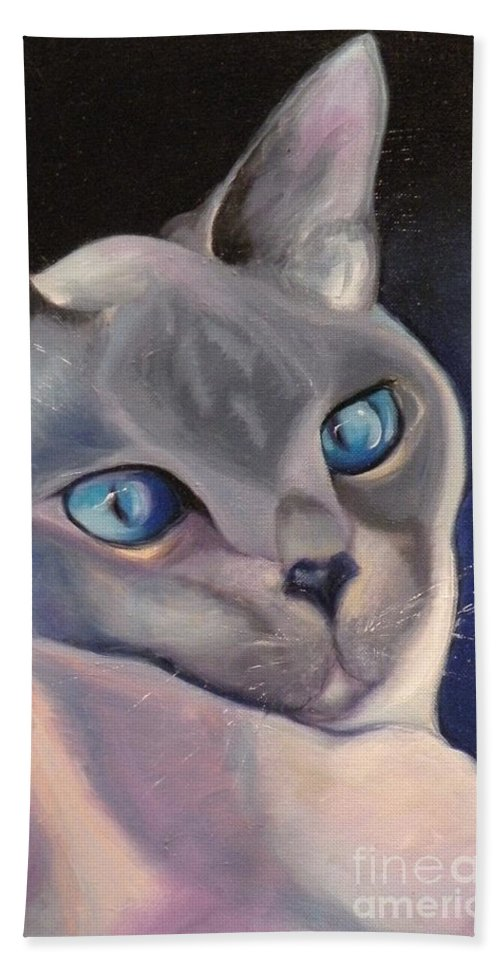Cat Siamese Greeting Card Hand Towel featuring the painting Siamese In Blue by Susan A Becker