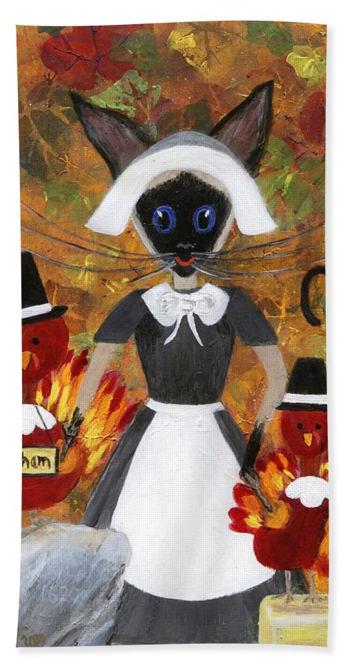 Siamese Bath Sheet featuring the painting Siamese Queen Of Thanksgiving by Jamie Frier