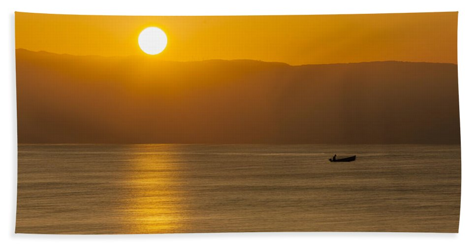 Dawn Bath Sheet featuring the photograph Sicilian Dawn by Alfio Finocchiaro