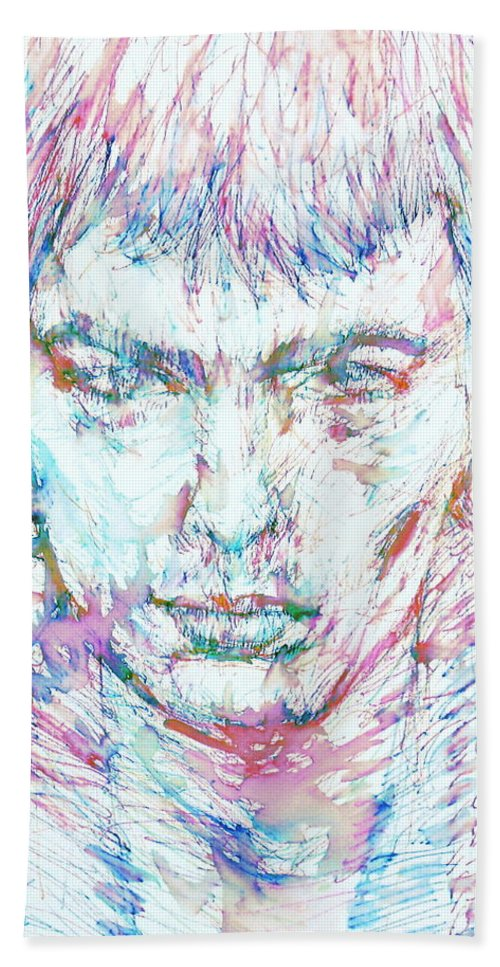 Sid Hand Towel featuring the painting Sid Vicious - Colored Pens Portrait by Fabrizio Cassetta