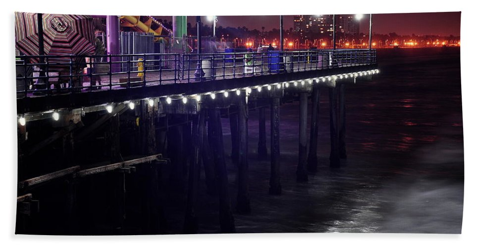Side Of The Pier Hand Towel featuring the digital art Side Of The Pier - Santa Monica by Gandz Photography
