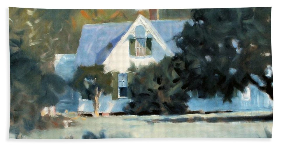 Landscape Bath Sheet featuring the painting Side Yard by Kevin Lawrence Leveque