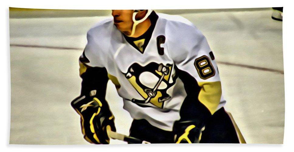 Sidney Crosby Bath Sheet featuring the painting Sidney Crosby by Florian Rodarte