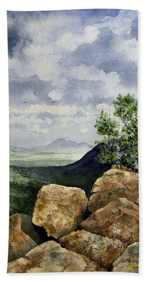 Arizona Hand Towel featuring the painting Sierra San Jose From Montezuma Pass by Sam Sidders
