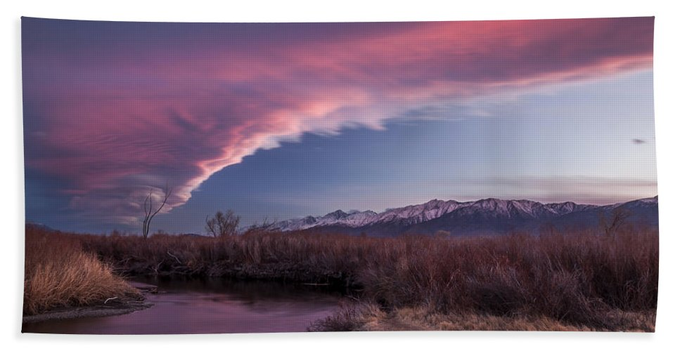 River Hand Towel featuring the photograph Sierra Wave And Lower Owens by Cat Connor