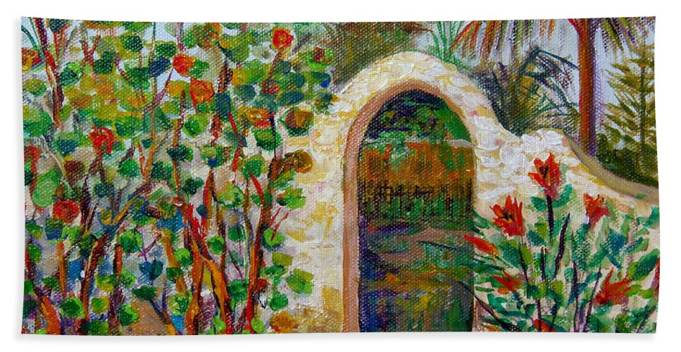 Siesta Key Archway Hand Towel featuring the painting Siesta Key Archway by Lou Ann Bagnall