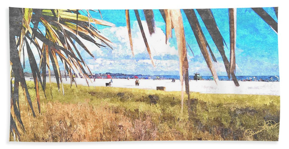 siesta Key In Fall Hand Towel featuring the photograph Siesta Key In Fall by Susan Molnar