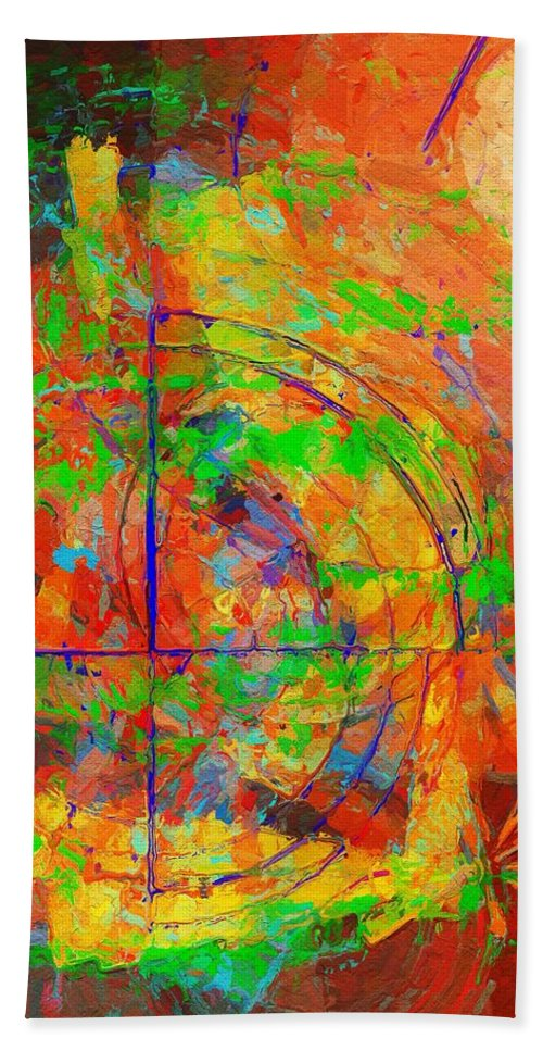 Abstract Bath Sheet featuring the painting Sight Lines by Sandy MacGowan