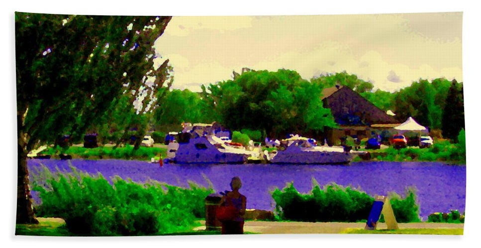 Montreal Bath Sheet featuring the painting Sights Along The Harbor Late Day Stroll Lachine Canal Bike Path Montreal Scenes Carole Spandau by Carole Spandau