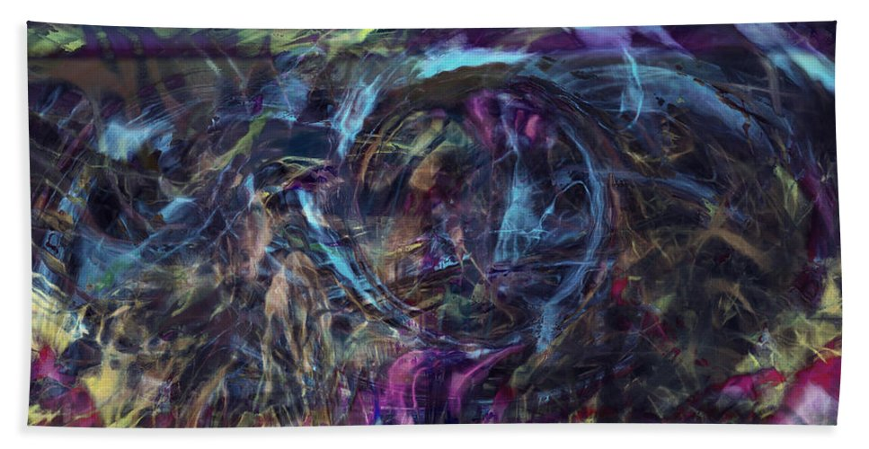 Abstract Art Hand Towel featuring the digital art Signal To Noise by Linda Sannuti