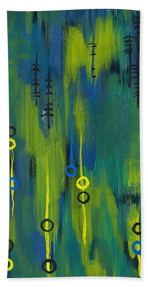 Acrylic Paintings Hand Towel featuring the painting Signals by Aparna Raghunathan