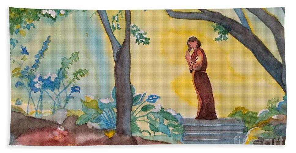 Silence Hand Towel featuring the painting Silence by Lise PICHE