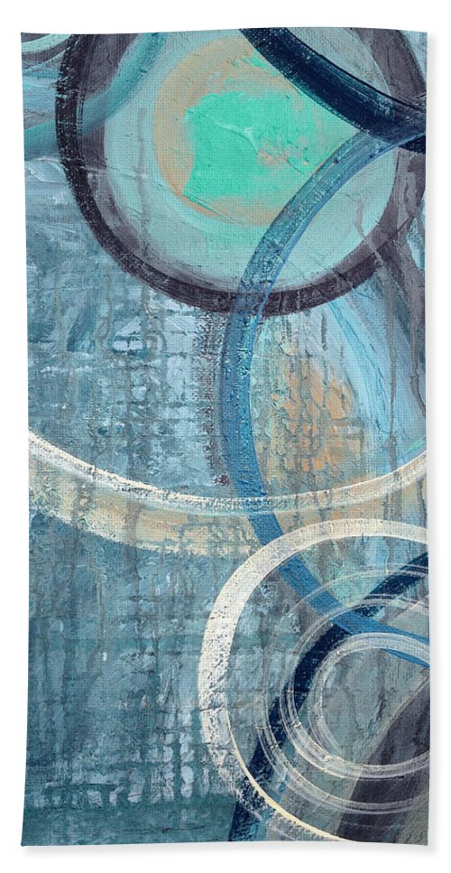 Abstract Bath Sheet featuring the painting Silent Drizzle by Ruth Palmer