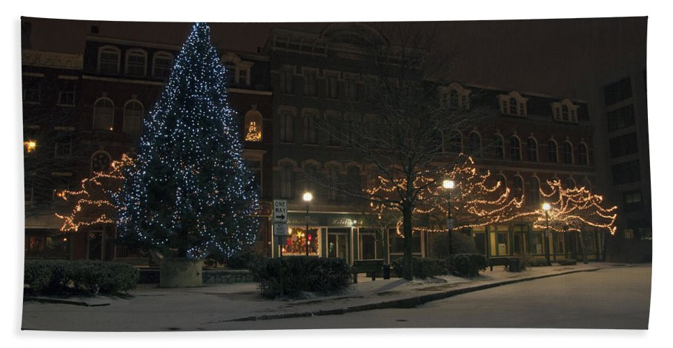 Corner Bath Sheet featuring the photograph Silent Night Bangor Maine by Glenn Gordon