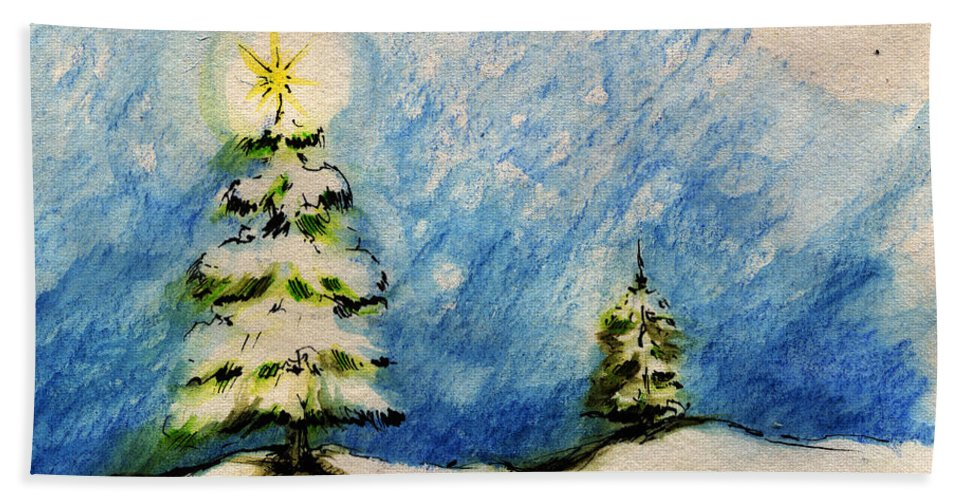 Christmas Hand Towel featuring the painting Silent Night Holy Night by Angel Ciesniarska