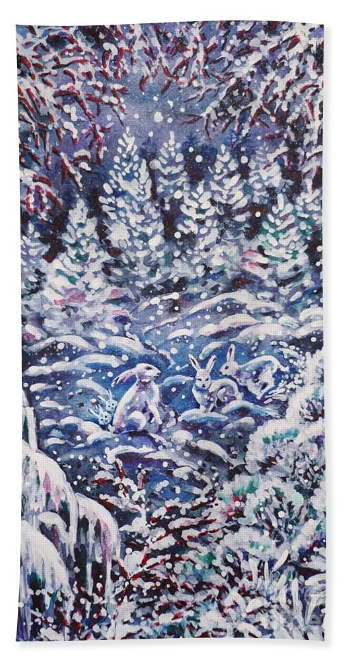 Christmas Hand Towel featuring the painting Silent Night by Zaira Dzhaubaeva