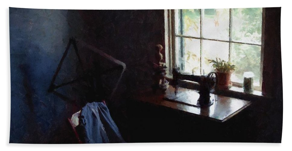 Sewing Room Hand Towel featuring the painting Silent Sewing Room by RC DeWinter