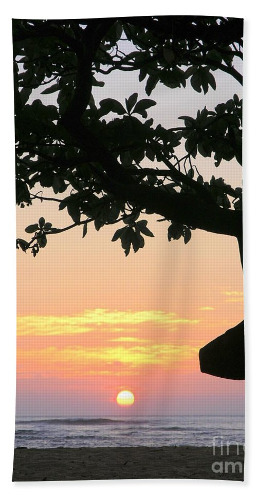 Sunrise Hand Towel featuring the photograph Silhouette Sunrise by Mary Deal