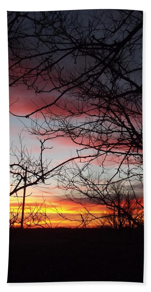 Silhouette Hand Towel featuring the photograph Silhouetted by Bonfire Photography