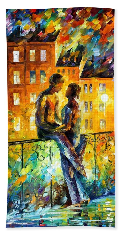 Oil Paintings Bath Sheet featuring the painting Silhouettes - Palette Knife Oil Painting On Canvas By Leonid Afremov by Leonid Afremov