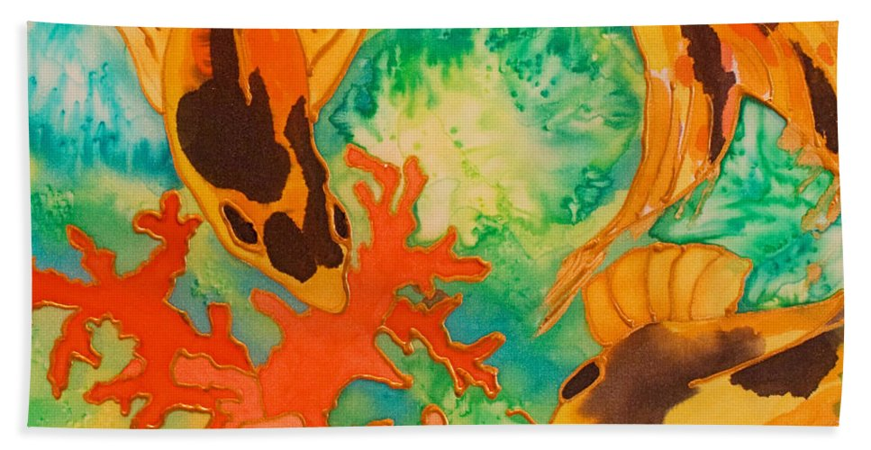 Koi Hand Towel featuring the painting Silk Koi by Joanne Smoley