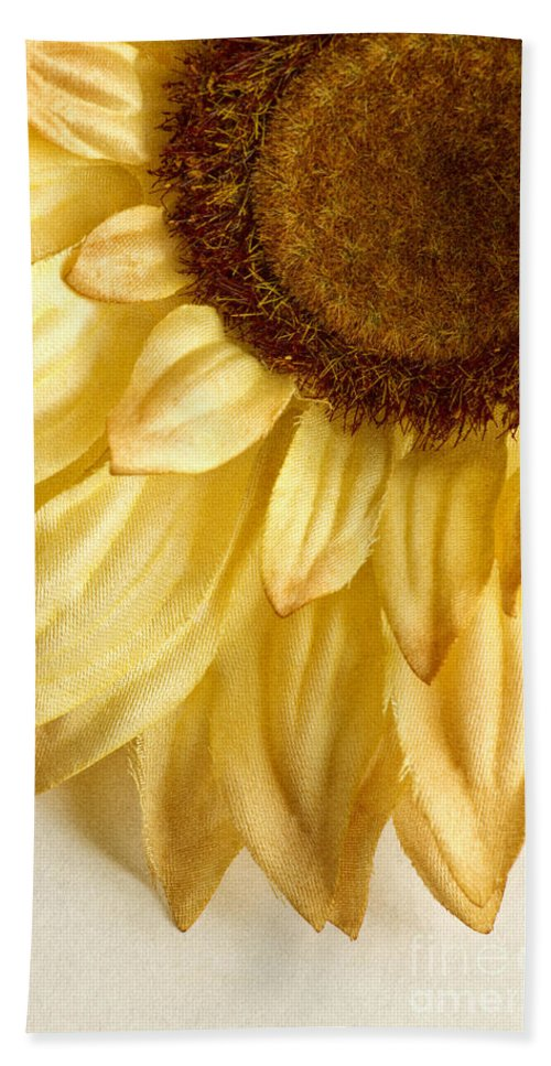 Yellow; Brown; Flower; Nature; Close Up; Fragile; Beautiful; Delicate; Fragrant; Pretty; Tranquil; Beauty; Color; Large; Sunflower; Silk; Fake Hand Towel featuring the photograph Silky Sun by Margie Hurwich