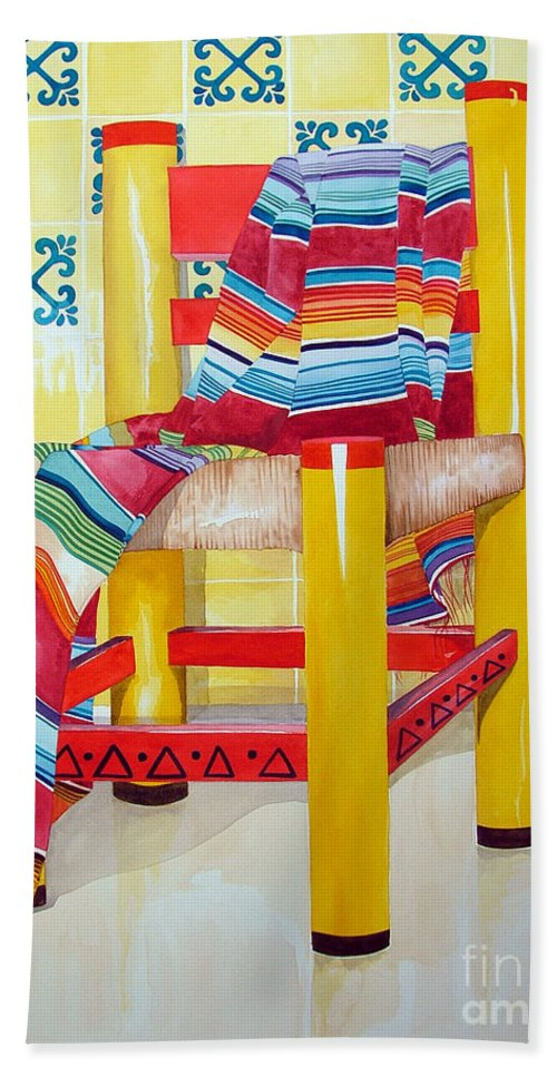 Still Life Painting Bath Towel featuring the painting Silla De La Cocina--kitchen Chair by Kandyce Waltensperger