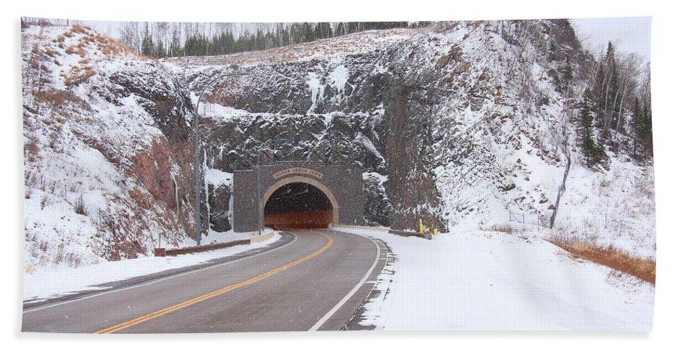 Road Bath Sheet featuring the photograph Silver Creek Cliff Tunnel Winter 1 by John Brueske