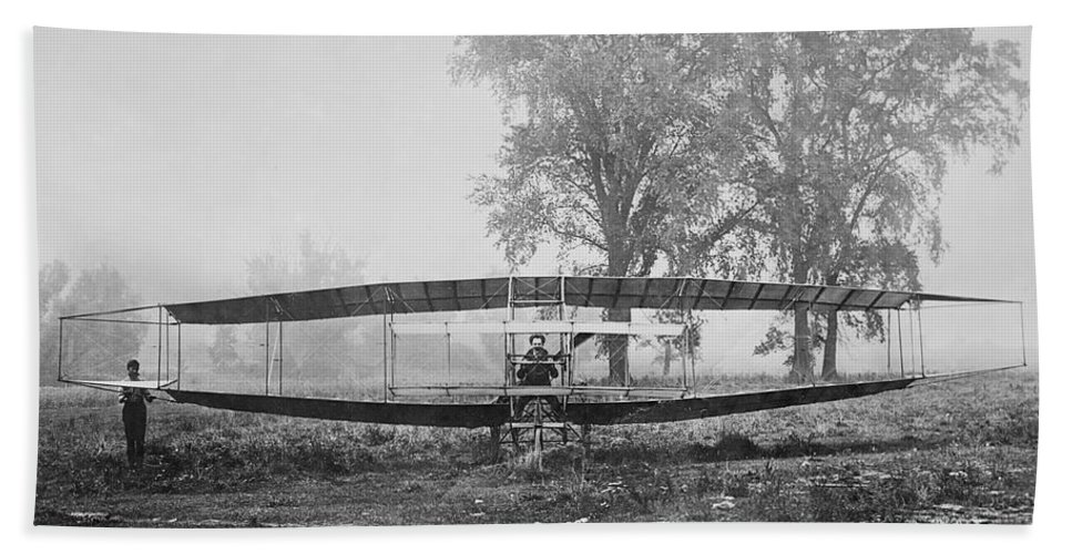 Silver Bath Sheet featuring the photograph Silver Dart - Aeroplane At Hammondsport 1908 by Bill Cannon