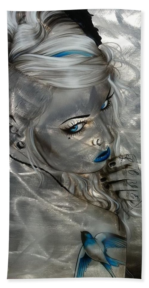 Portrait Hand Towel featuring the painting Silver Flight by Christian Chapman Art