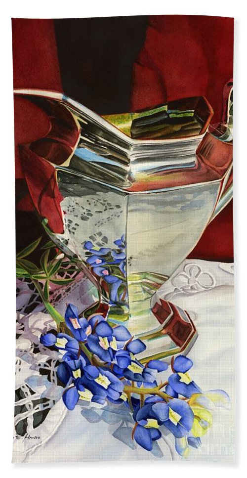 Silver Pitcher Hand Towel featuring the painting Silver Pitcher And Bluebonnet by Hailey E Herrera