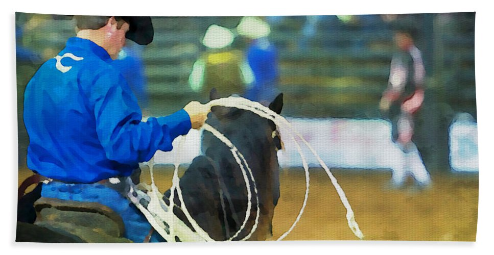Silver Spurs Rodeo Bath Sheet featuring the photograph Silver Spurs Rodeo Outrider by Alice Gipson