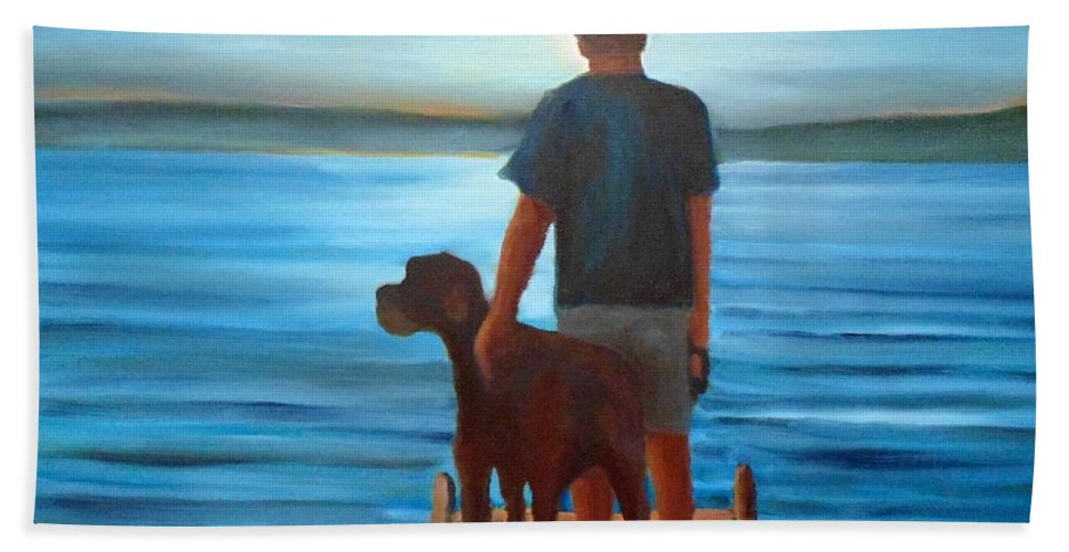 Silver Sunset Hand Towel featuring the painting Silver Sunset by John Malone