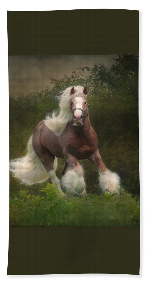 Horses Bath Towel featuring the photograph Simon and the storm by Fran J Scott